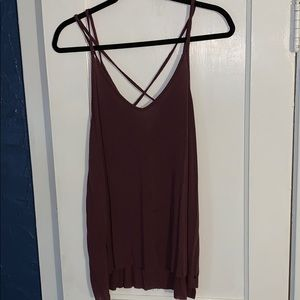 American Eagle Purple Tank with Criss Cross back